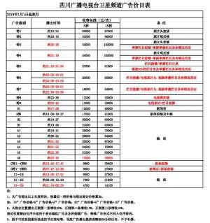 2019年 四川卫视 全天时段广告刊例价格