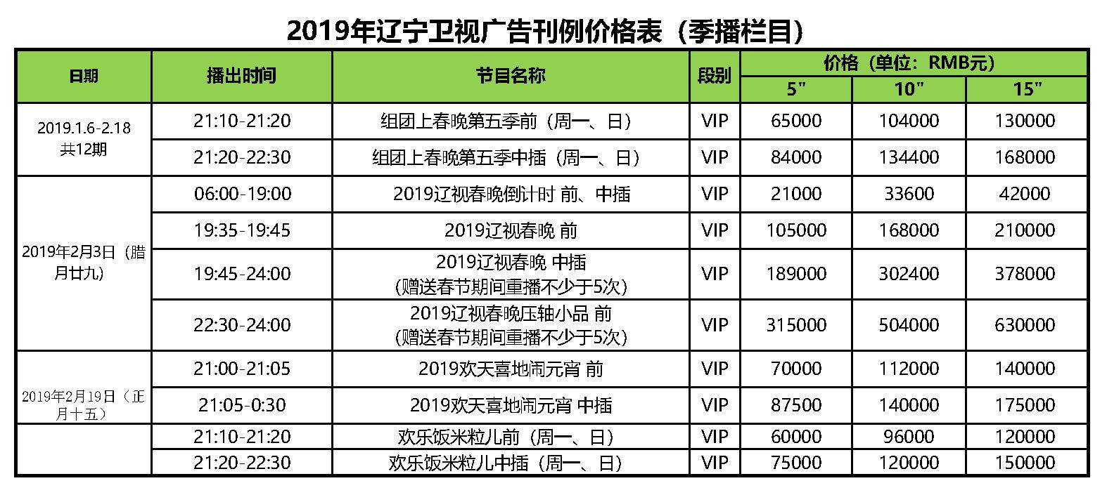2019年 辽宁卫视 季播栏目广告刊例价格