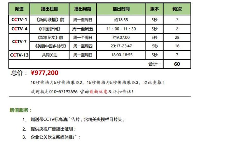 97.7W特惠套播组合CCTV-1/4/7/13央视广告方案